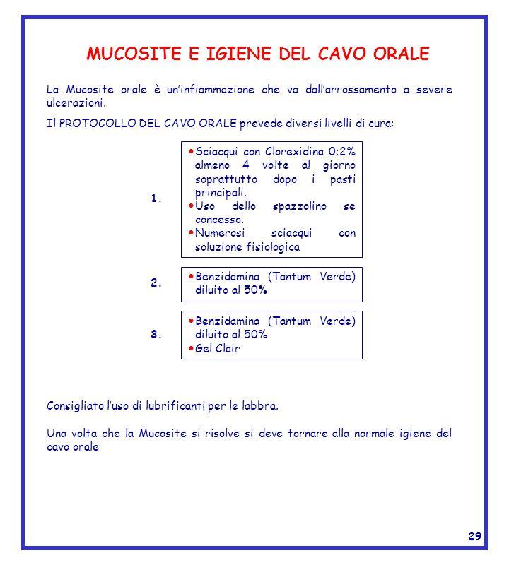 MUCOSITE E IGIENE DEL CAVO ORALE La Mucosite orale è uninfiammazione che va dallarrossamento a severe ulcerazioni. Sciacqui con Clorexidina 0;2% almen