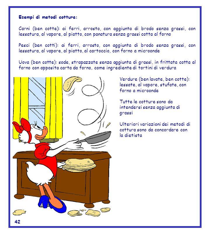 Esempi di metodi cottura: Carni (ben cotte): ai ferri, arrosto, con aggiunta di brodo senza grassi, con lessatura, al vapore, al piatto, con panatura