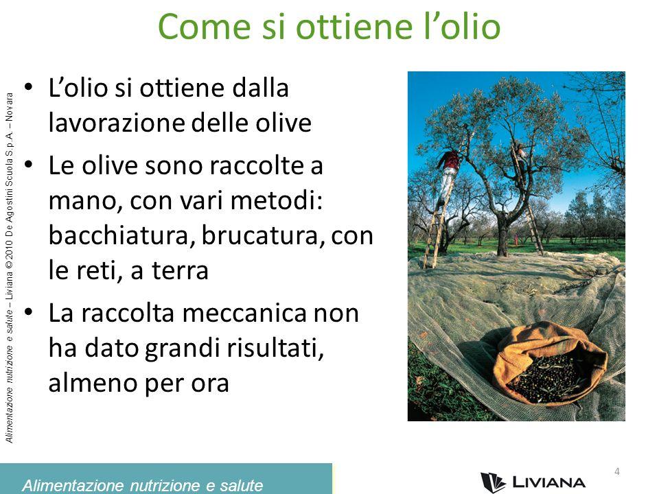 Alimentazione nutrizione e salute Alimentazione nutrizione e salute – Liviana © 2010 De Agostini Scuola S.p.A. – Novara Come si ottiene lolio Lolio si