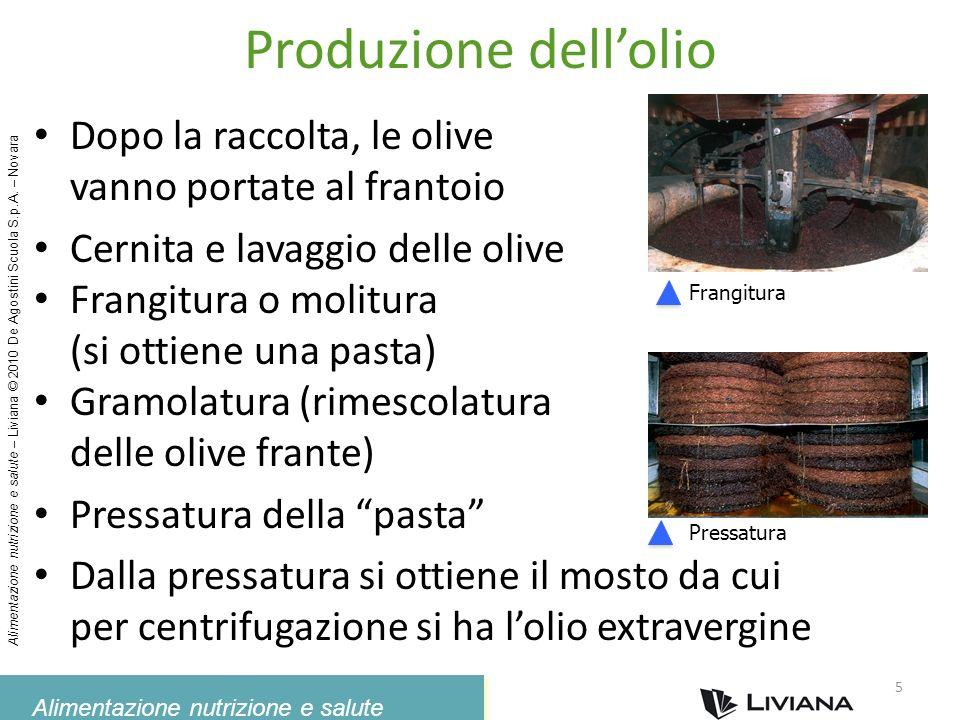 Alimentazione nutrizione e salute Alimentazione nutrizione e salute – Liviana © 2010 De Agostini Scuola S.p.A. – Novara Produzione dellolio Dopo la ra