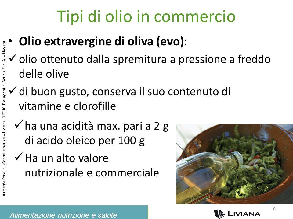 Alimentazione nutrizione e salute Alimentazione nutrizione e salute – Liviana © 2010 De Agostini Scuola S.p.A. – Novara Tipi di olio in commercio Olio