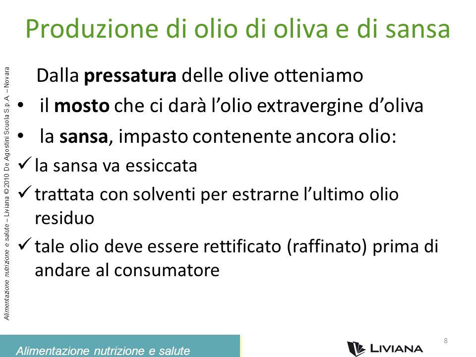 Alimentazione nutrizione e salute Alimentazione nutrizione e salute – Liviana © 2010 De Agostini Scuola S.p.A. – Novara Produzione di olio di oliva e
