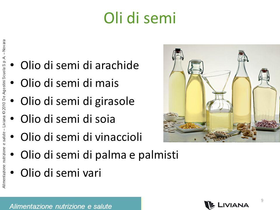 Alimentazione nutrizione e salute – Liviana © 2010 De Agostini Scuola S.p.A. – Novara Oli di semi Olio di semi di arachide Olio di semi di mais Olio d