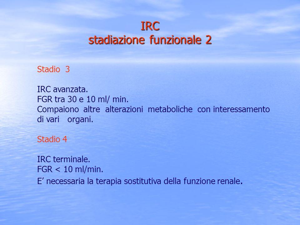 Stadio 3 IRC avanzata. FGR tra 30 e 10 ml/ min. Compaiono altre alterazioni metaboliche con interessamento di vari organi. Stadio 4 IRC terminale. FGR
