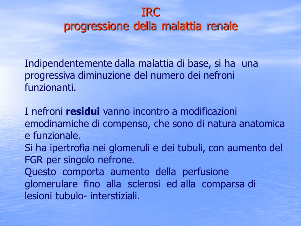 IRC progressione della malattia renale Indipendentemente dalla malattia di base, si ha una progressiva diminuzione del numero dei nefroni funzionanti.