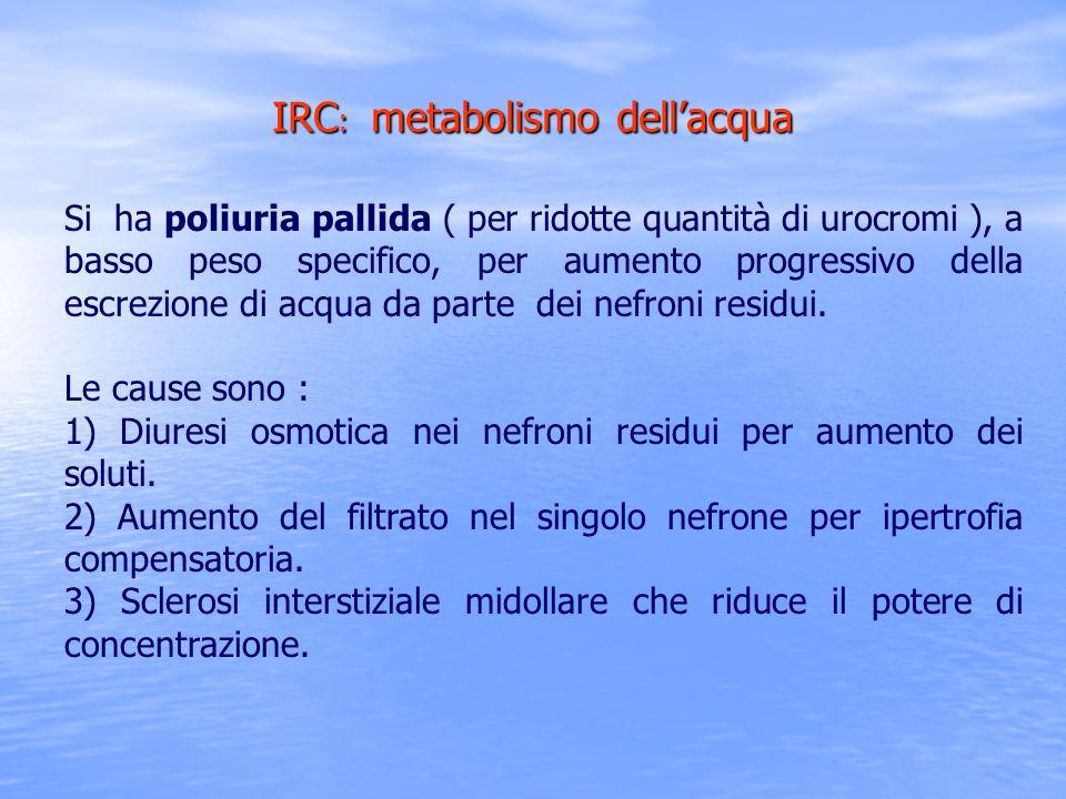 Si ha poliuria pallida ( per ridotte quantità di urocromi ), a basso peso specifico, per aumento progressivo della escrezione di acqua da parte dei ne
