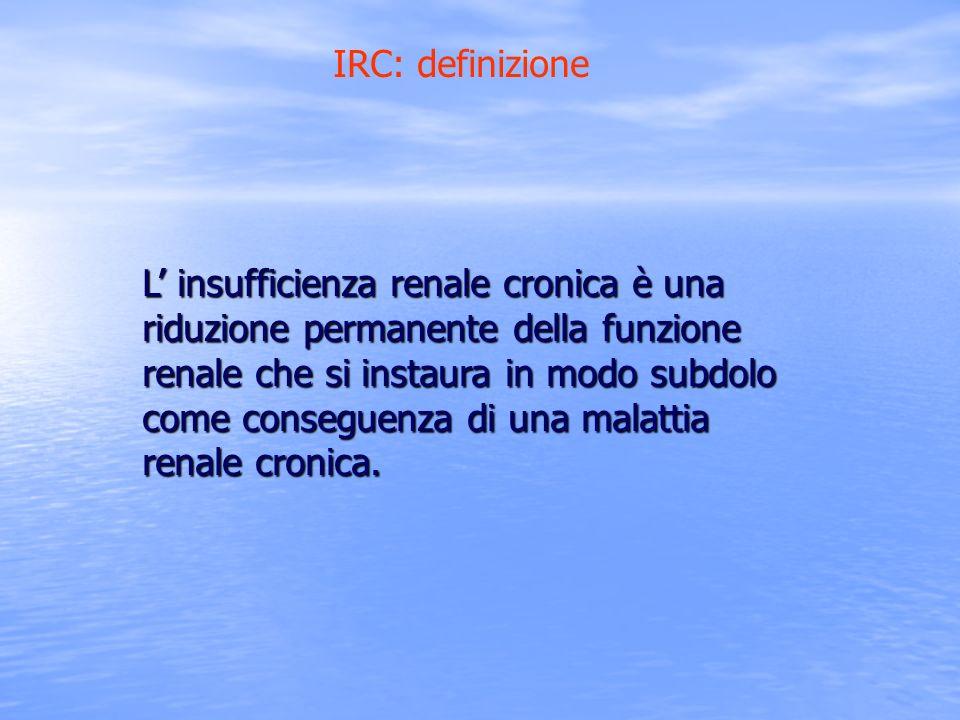 IRC: definizione L insufficienza renale cronica è una riduzione permanente della funzione renale che si instaura in modo subdolo come conseguenza di u
