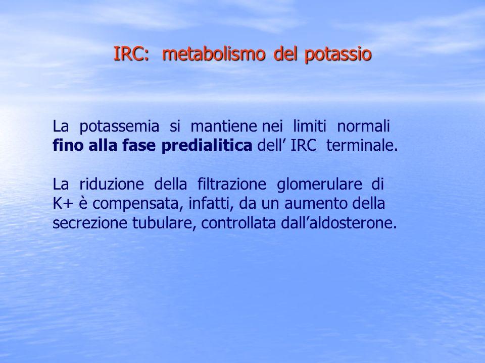 IRC: metabolismo del potassio La potassemia si mantiene nei limiti normali fino alla fase predialitica dell IRC terminale. La riduzione della filtrazi