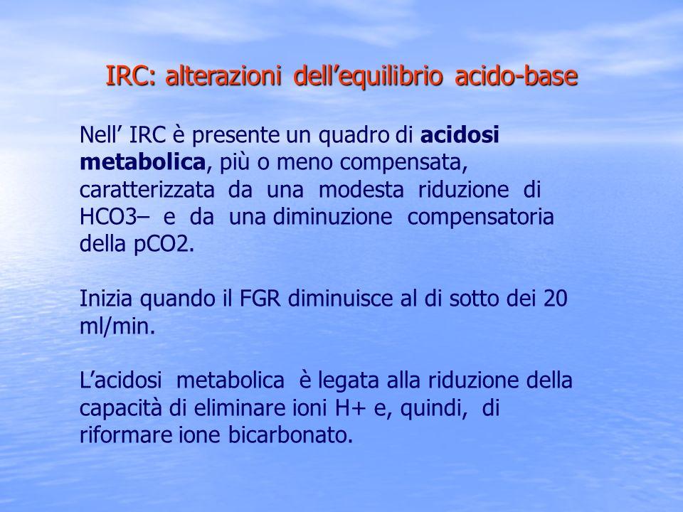 IRC: alterazioni dellequilibrio acido-base Nell IRC è presente un quadro di acidosi metabolica, più o meno compensata, caratterizzata da una modesta r