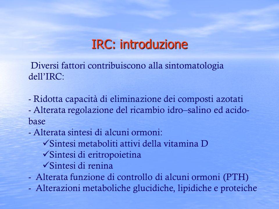 IRC: introduzione Diversi fattori contribuiscono alla sintomatologia dellIRC: - Ridotta capacità di eliminazione dei composti azotati - Alterata regol