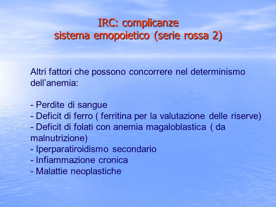 IRC: complicanze sistema emopoietico (serie rossa 2) Altri fattori che possono concorrere nel determinismo dellanemia: - Perdite di sangue - Deficit d