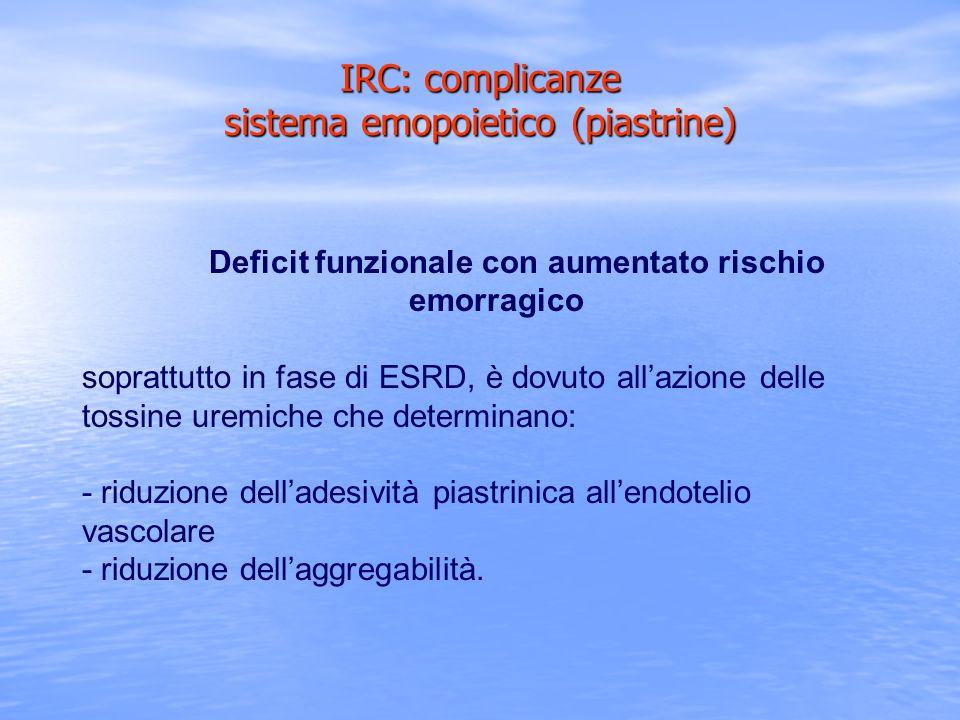Deficit funzionale con aumentato rischio emorragico soprattutto in fase di ESRD, è dovuto allazione delle tossine uremiche che determinano: - riduzion