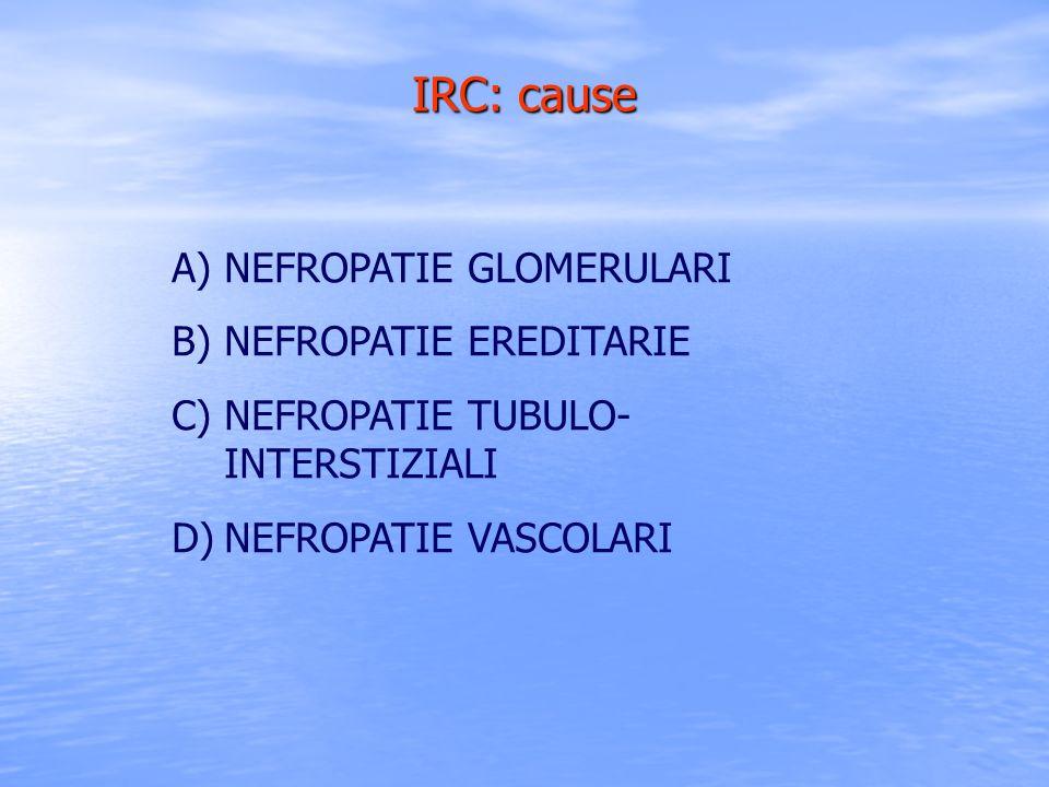 IRC: cause A)NEFROPATIE GLOMERULARI B)NEFROPATIE EREDITARIE C)NEFROPATIE TUBULO- INTERSTIZIALI D)NEFROPATIE VASCOLARI
