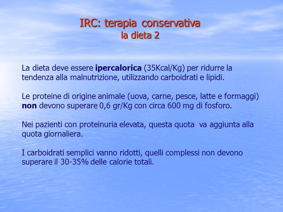 La dieta deve essere ipercalorica (35Kcal/Kg) per ridurre la tendenza alla malnutrizione, utilizzando carboidrati e lipidi. Le proteine di origine ani