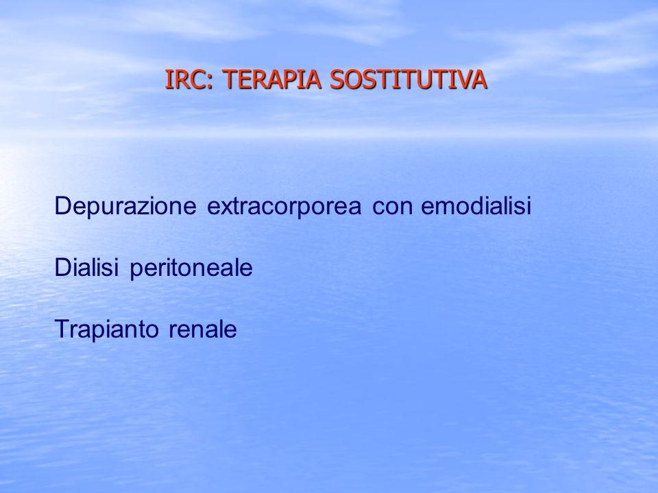 Depurazione extracorporea con emodialisi Dialisi peritoneale Trapianto renale IRC: TERAPIA SOSTITUTIVA