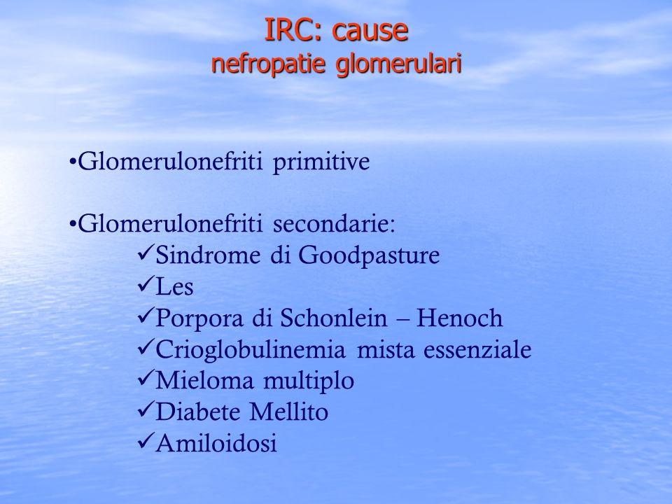 Glomerulonefriti primitive Glomerulonefriti secondarie: Sindrome di Goodpasture Les Porpora di Schonlein – Henoch Crioglobulinemia mista essenziale Mi