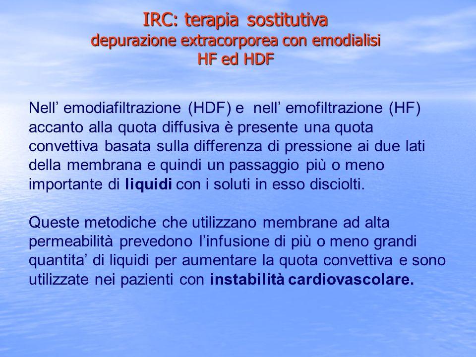 Nell emodiafiltrazione (HDF) e nell emofiltrazione (HF) accanto alla quota diffusiva è presente una quota convettiva basata sulla differenza di pressi