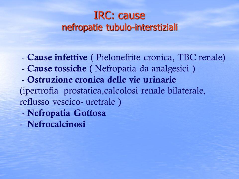 - Cause infettive ( Pielonefrite cronica, TBC renale) - Cause tossiche ( Nefropatia da analgesici ) - Ostruzione cronica delle vie urinarie (ipertrofi