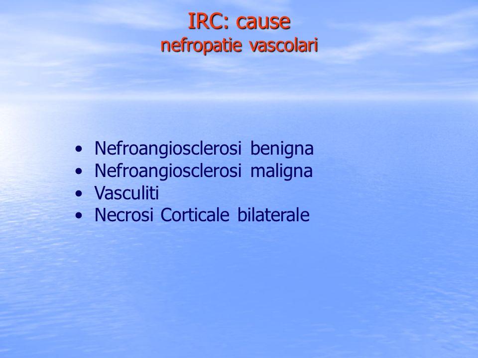 IRC: cause nefropatie vascolari Nefroangiosclerosi benigna Nefroangiosclerosi maligna Vasculiti Necrosi Corticale bilaterale