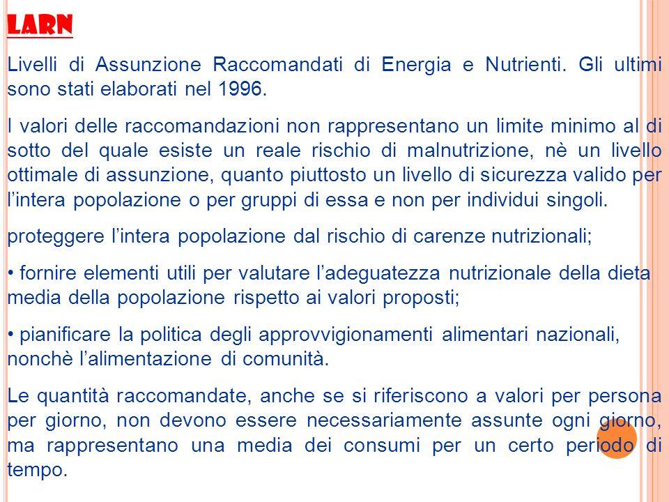 LARN Livelli di Assunzione Raccomandati di Energia e Nutrienti. Gli ultimi sono stati elaborati nel 1996. I valori delle raccomandazioni non rappresen