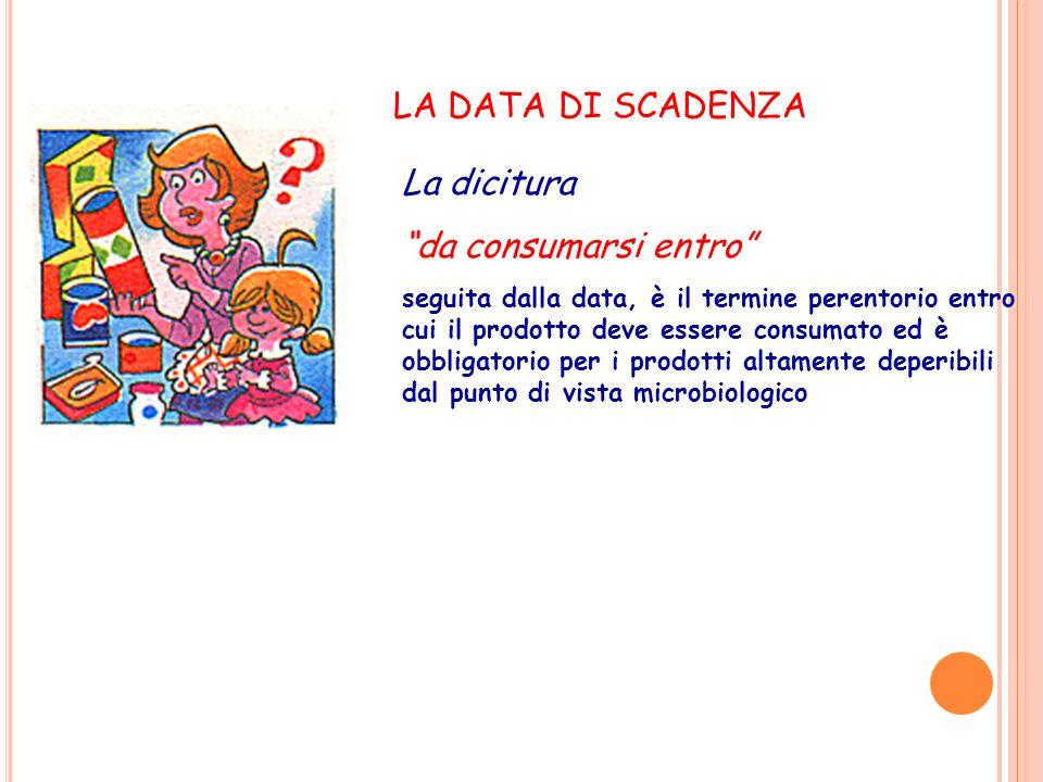 La dicitura da consumarsi entro seguita dalla data, è il termine perentorio entro cui il prodotto deve essere consumato ed è obbligatorio per i prodot
