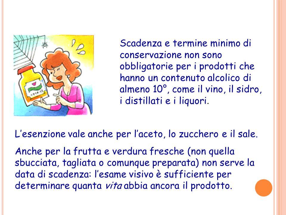 Scadenza e termine minimo di conservazione non sono obbligatorie per i prodotti che hanno un contenuto alcolico di almeno 10°, come il vino, il sidro,