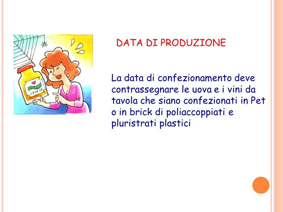 DATA DI PRODUZIONE La data di confezionamento deve contrassegnare le uova e i vini da tavola che siano confezionati in Pet o in brick di poliaccoppiat