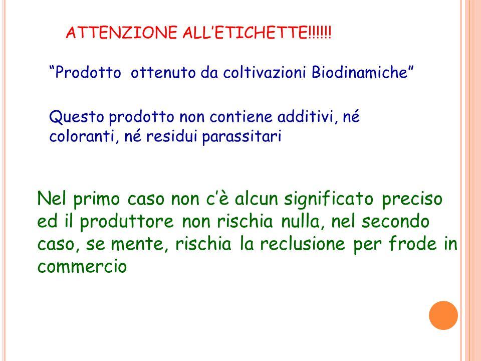 ATTENZIONE ALLETICHETTE!!!!!! Prodotto ottenuto da coltivazioni Biodinamiche Questo prodotto non contiene additivi, né coloranti, né residui parassita