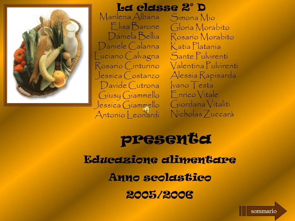 Educazione alimentare Anno scolastico 2005/2006 Marilena Albana Elisa Barone Daniela Bellia Daniele Calanna Luciano Calvagna Rosario Cinturino Jessica