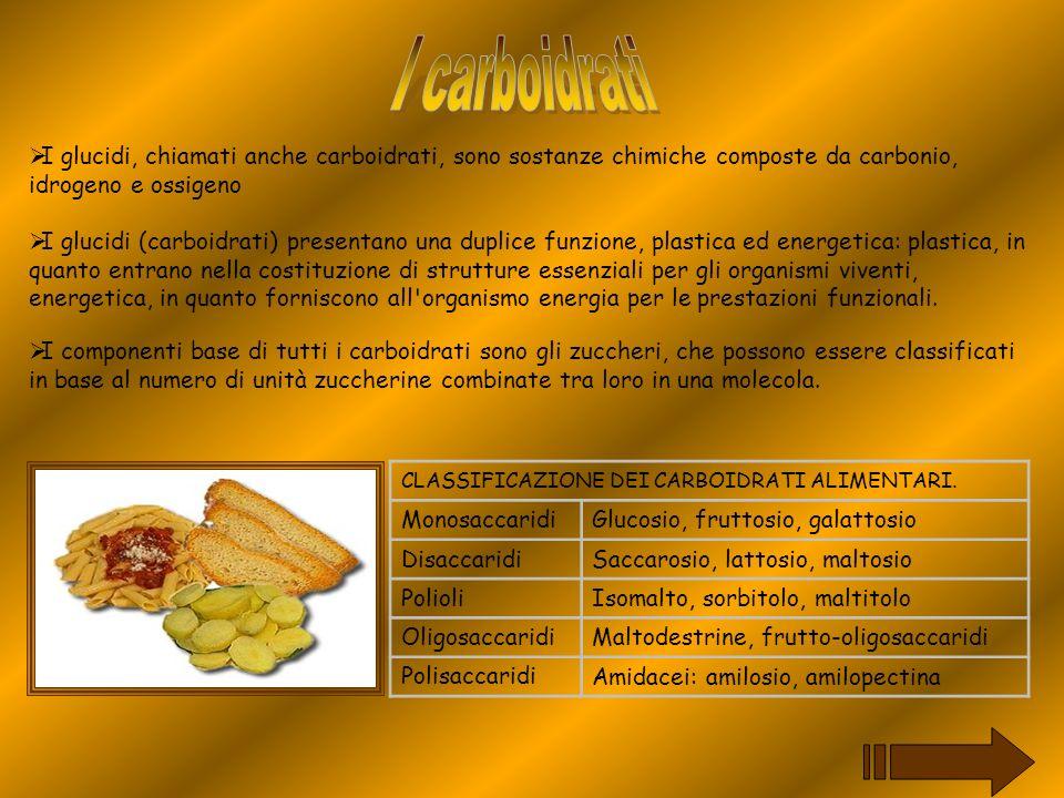 I glucidi, chiamati anche carboidrati, sono sostanze chimiche composte da carbonio, idrogeno e ossigeno I glucidi (carboidrati) presentano una duplice