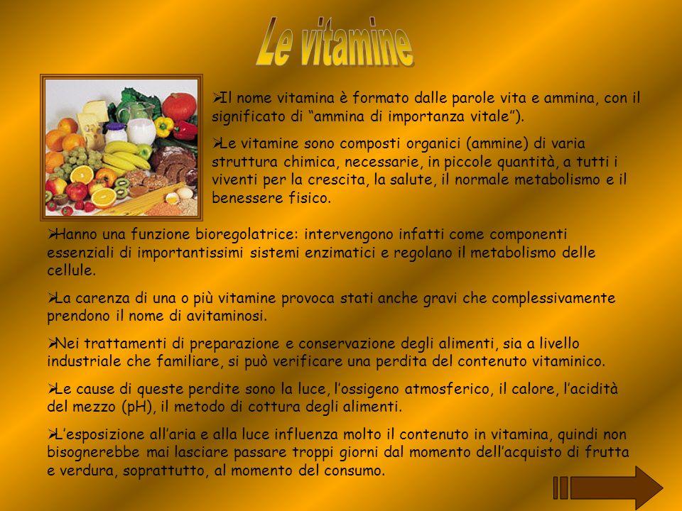 Il nome vitamina è formato dalle parole vita e ammina, con il significato di ammina di importanza vitale). Le vitamine sono composti organici (ammine)