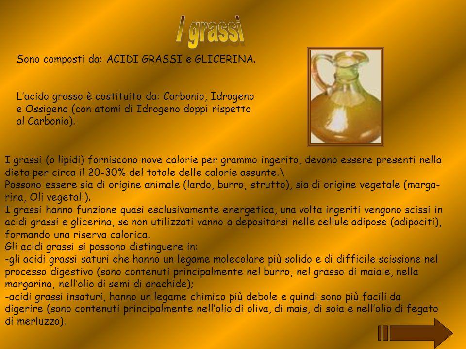 I più importanti acidi grassi insaturi sono: lacido oleico, lacido linoleico e lacido linolenico.