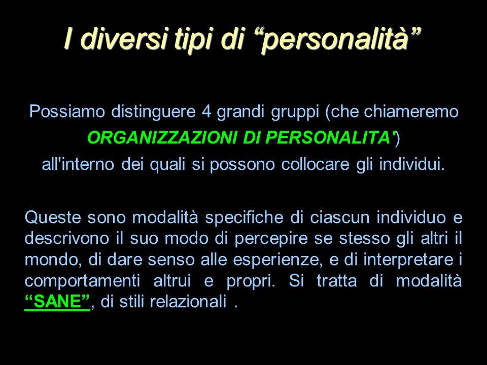 Possiamo distinguere 4 grandi gruppi (che chiameremo ORGANIZZAZIONI DI PERSONALITA') all'interno dei quali si possono collocare gli individui. Queste