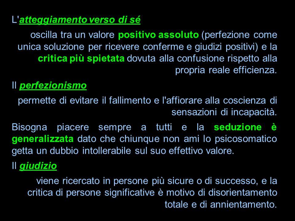 L'atteggiamento verso di sé oscilla tra un valore positivo assoluto (perfezione come unica soluzione per ricevere conferme e giudizi positivi) e la cr