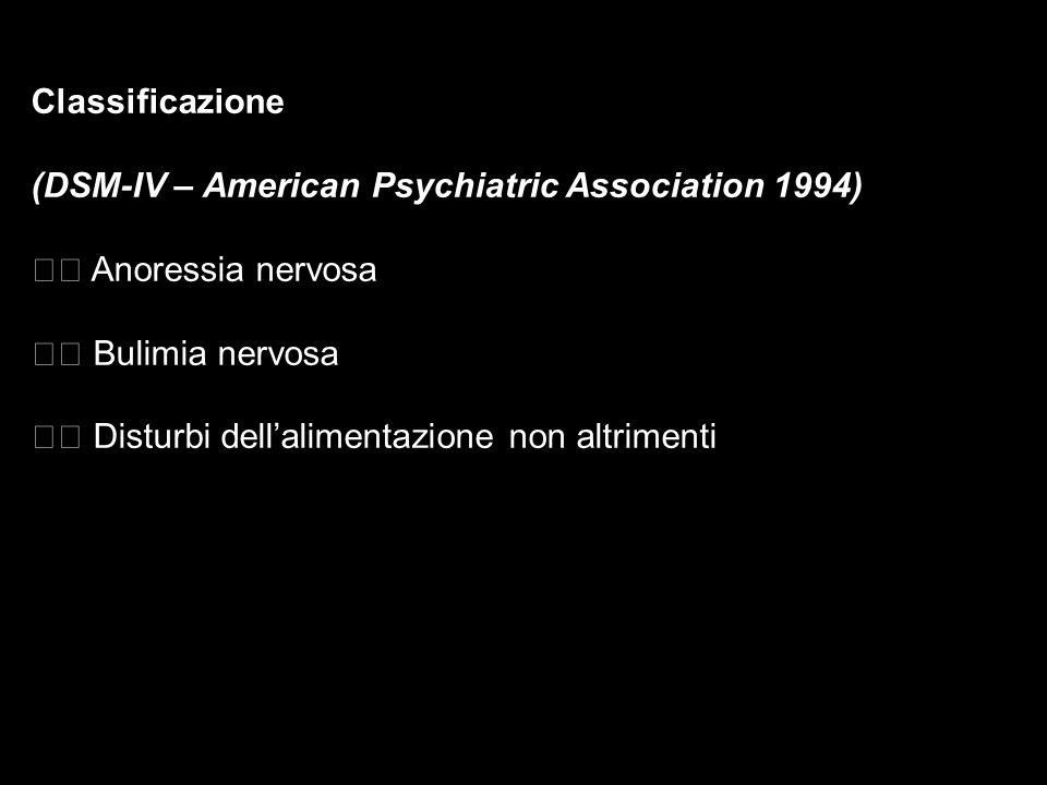 Classificazione (DSM-IV – American Psychiatric Association 1994) Anoressia nervosa Bulimia nervosa Disturbi dellalimentazione non altrimenti