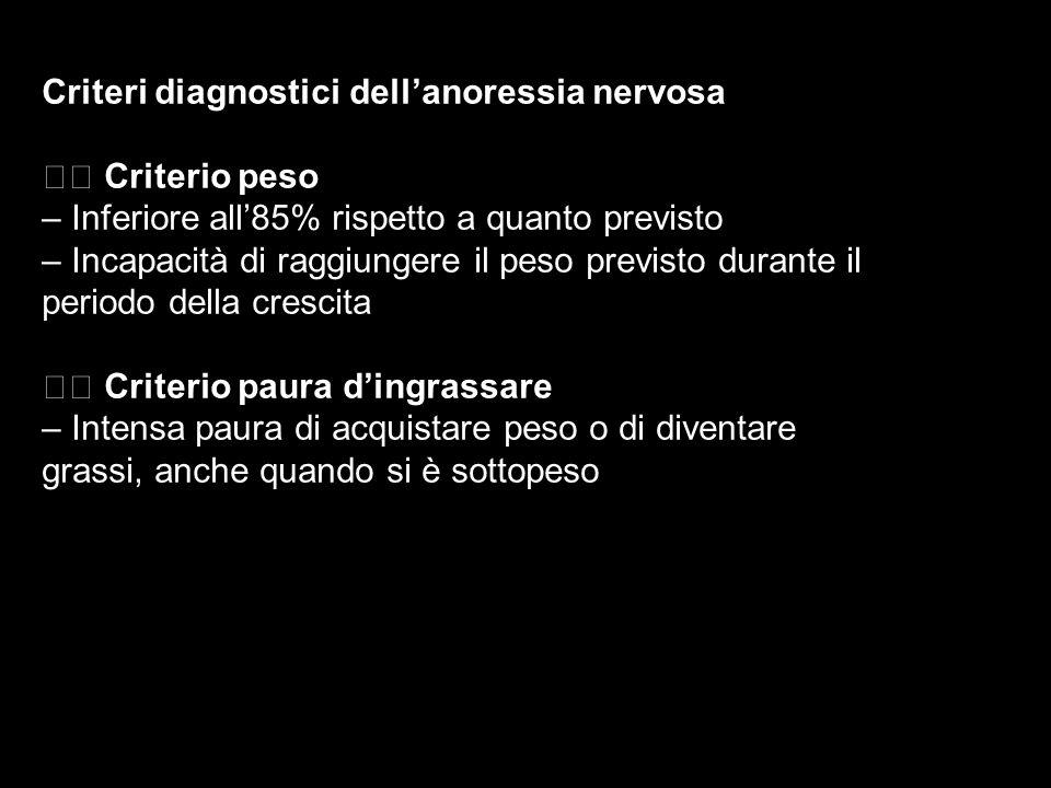 Criteri diagnostici dellanoressia nervosa Criterio peso – Inferiore all85% rispetto a quanto previsto – Incapacità di raggiungere il peso previsto dur