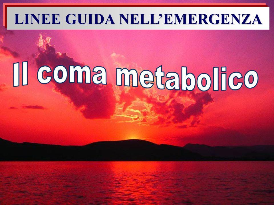 Terapia del coma chetoacidosico In Pronto Soccorso SECONDA FASE (la discesa della glicemia è più rapida della soluzione della chetoacidosi, quando la glicemia < 250 mg/dl è opportuno somministrare glucosio per evitare episodi ipoglicemici, ridurre la chetoacidosi, evitare brusche cadute dellosmolarità plasmatica) infusione combinata di soluzione glucosata e fisiologica + insulina per mantenere la glicemia tra 200 e 250 mg/dl Aggiungere potassio 20-40 mEq/l a seconda della kaliemia Sospendere la terapia se: Glicemia 18, pH> 7,3 – il paziente si alimenta Iniziare Insulina sotto cute (5-10 U di rapida s.c.