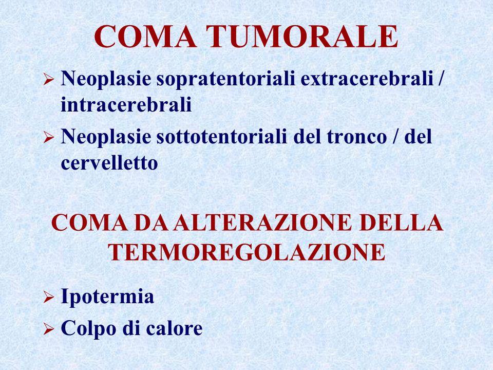COMA TUMORALE Neoplasie sopratentoriali extracerebrali / intracerebrali Neoplasie sottotentoriali del tronco / del cervelletto COMA DA ALTERAZIONE DELLA TERMOREGOLAZIONE Ipotermia Colpo di calore
