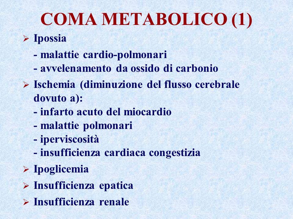 COMA METABOLICO (1) Ipossia - malattie cardio-polmonari - avvelenamento da ossido di carbonio Ischemia (diminuzione del flusso cerebrale dovuto a): - infarto acuto del miocardio - malattie polmonari - iperviscosità - insufficienza cardiaca congestizia Ipoglicemia Insufficienza epatica Insufficienza renale
