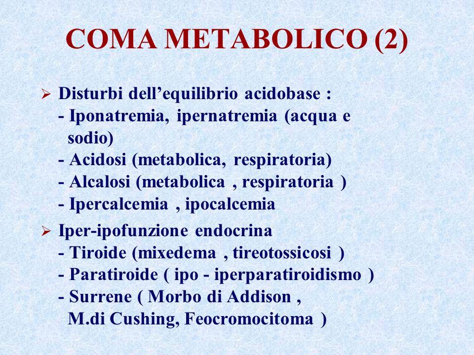 COMA METABOLICO (2) Disturbi dellequilibrio acidobase : - Iponatremia, ipernatremia (acqua e sodio) - Acidosi (metabolica, respiratoria) - Alcalosi (metabolica, respiratoria ) - Ipercalcemia, ipocalcemia Iper-ipofunzione endocrina - Tiroide (mixedema, tireotossicosi ) - Paratiroide ( ipo - iperparatiroidismo ) - Surrene ( Morbo di Addison, M.di Cushing, Feocromocitoma )