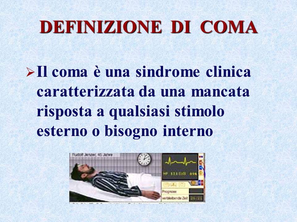 DEFINIZIONE DI COMA Il coma è una sindrome clinica caratterizzata da una mancata risposta a qualsiasi stimolo esterno o bisogno interno