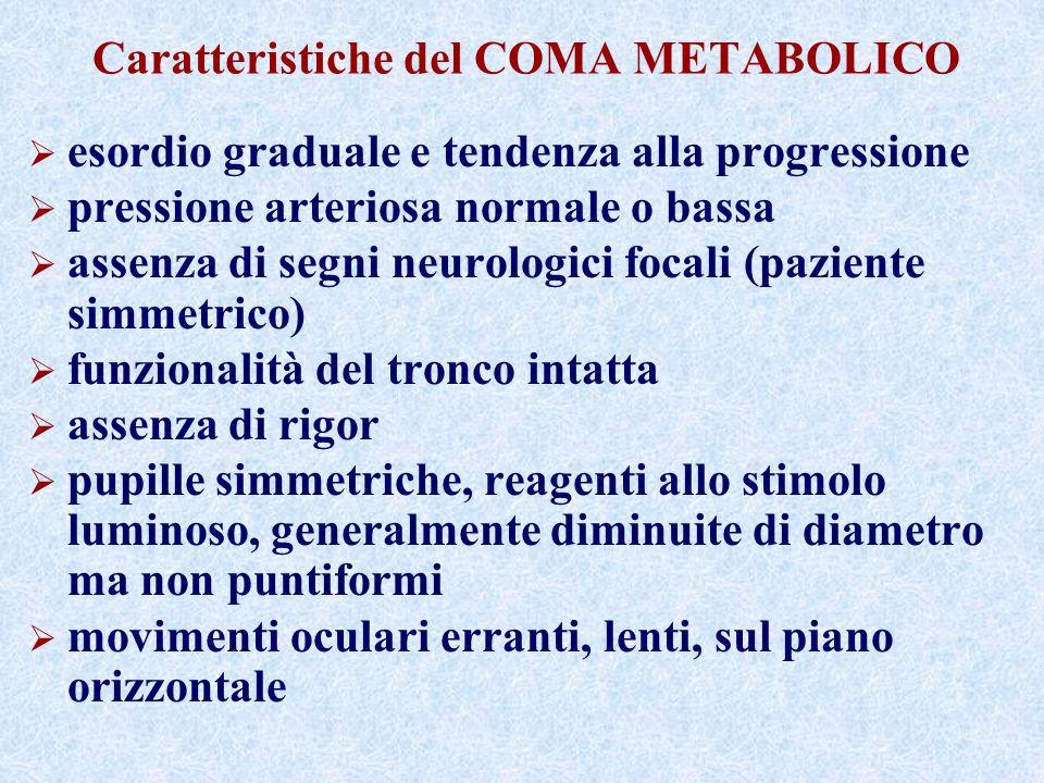 Caratteristiche del COMA METABOLICO esordio graduale e tendenza alla progressione pressione arteriosa normale o bassa assenza di segni neurologici foc