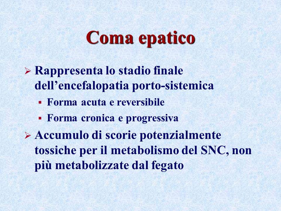 Coma epatico Rappresenta lo stadio finale dellencefalopatia porto-sistemica Forma acuta e reversibile Forma cronica e progressiva Accumulo di scorie potenzialmente tossiche per il metabolismo del SNC, non più metabolizzate dal fegato