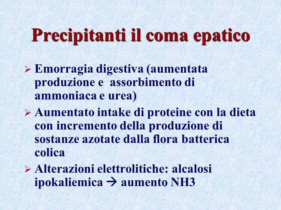 Precipitanti il coma epatico Emorragia digestiva (aumentata produzione e assorbimento di ammoniaca e urea) Aumentato intake di proteine con la dieta c