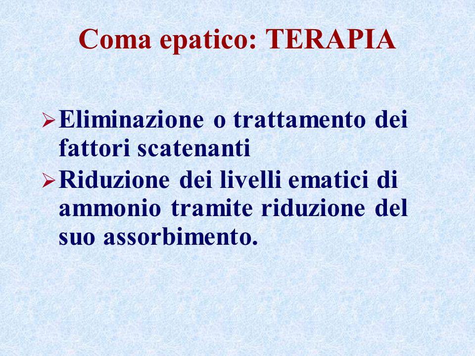 Coma epatico: TERAPIA Eliminazione o trattamento dei fattori scatenanti Riduzione dei livelli ematici di ammonio tramite riduzione del suo assorbimento.