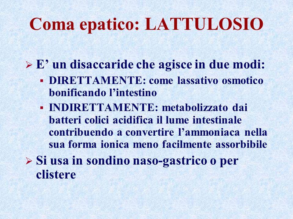 Coma epatico: LATTULOSIO E un disaccaride che agisce in due modi: DIRETTAMENTE: come lassativo osmotico bonificando lintestino INDIRETTAMENTE: metabol