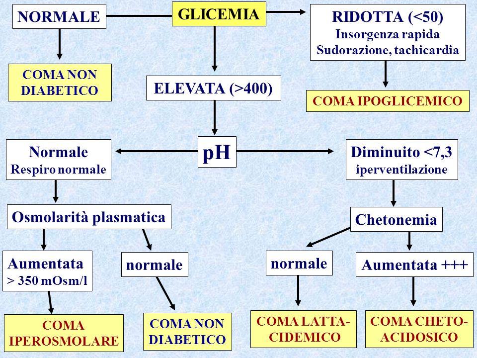 COMA NON DIABETICO COMA IPOGLICEMICO COMA IPEROSMOLARE COMA NON DIABETICO COMA LATTA- CIDEMICO COMA CHETO- ACIDOSICO NORMALE RIDOTTA (<50) Insorgenza rapida Sudorazione, tachicardia GLICEMIA ELEVATA (>400) pH Osmolarità plasmatica Normale Respiro normale Aumentata > 350 mOsm/l normale Diminuito <7,3 iperventilazione Chetonemia Aumentata +++