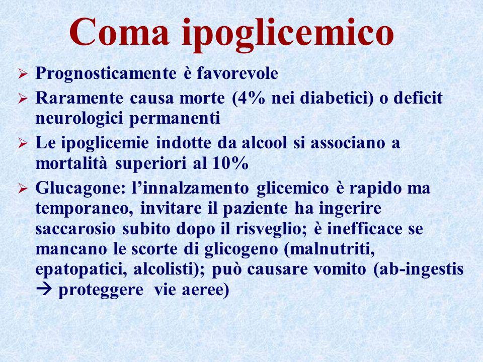 Coma ipoglicemico Prognosticamente è favorevole Raramente causa morte (4% nei diabetici) o deficit neurologici permanenti Le ipoglicemie indotte da alcool si associano a mortalità superiori al 10% Glucagone: linnalzamento glicemico è rapido ma temporaneo, invitare il paziente ha ingerire saccarosio subito dopo il risveglio; è inefficace se mancano le scorte di glicogeno (malnutriti, epatopatici, alcolisti); può causare vomito (ab-ingestis proteggere vie aeree)