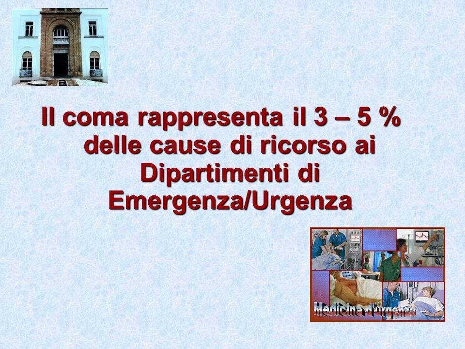 Il coma rappresenta il 3 – 5 % delle cause di ricorso ai Dipartimenti di Emergenza/Urgenza
