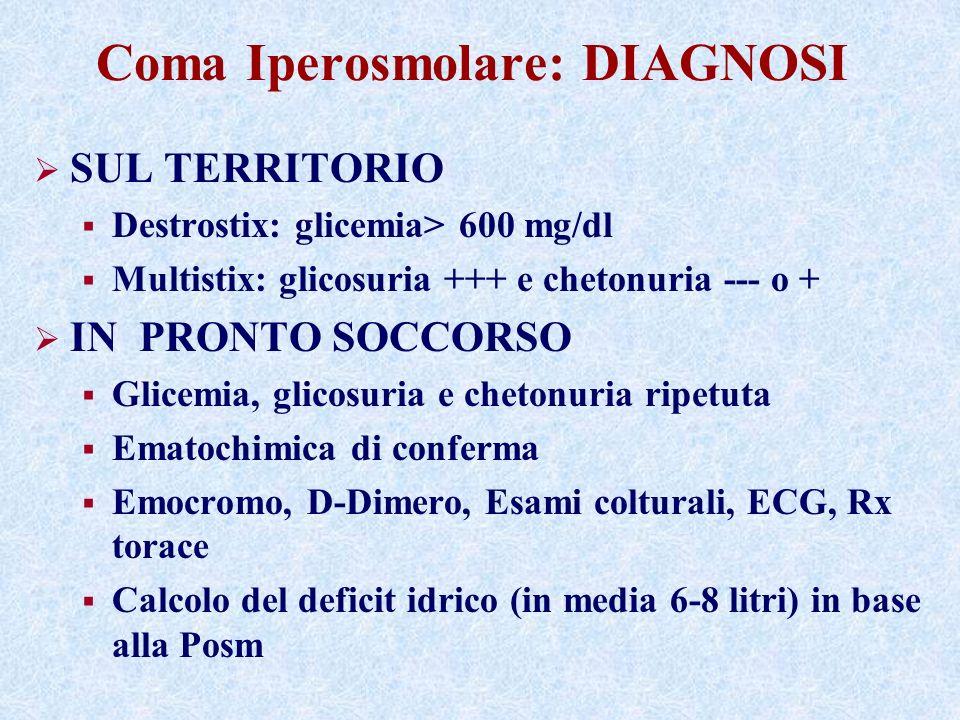 Coma Iperosmolare: DIAGNOSI SUL TERRITORIO Destrostix: glicemia> 600 mg/dl Multistix: glicosuria +++ e chetonuria --- o + IN PRONTO SOCCORSO Glicemia, glicosuria e chetonuria ripetuta Ematochimica di conferma Emocromo, D-Dimero, Esami colturali, ECG, Rx torace Calcolo del deficit idrico (in media 6-8 litri) in base alla Posm